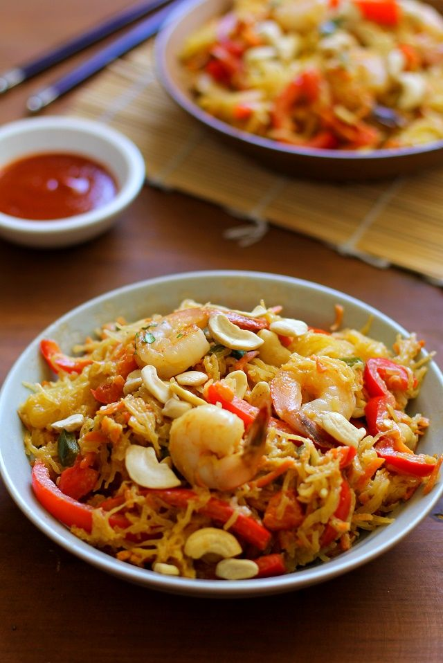 Spaghetti Squash Pad Thai with Cashew Ginger Sauce http://www.theroastedroot.net/spaghetti-squash-pad-thai/