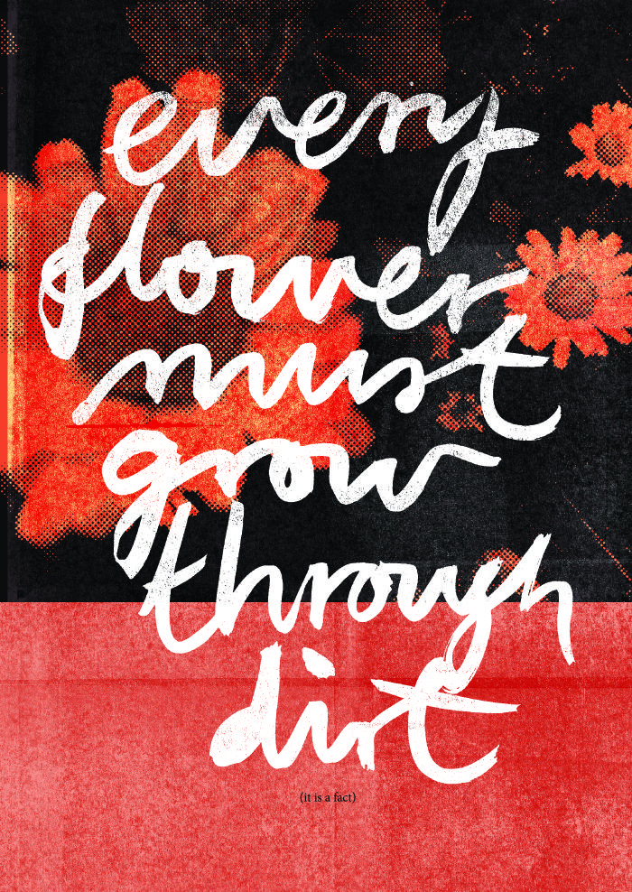 EVERY FLOWER MUST GROW THROUGH DIRT (IT IS A FACT). High quality graphic prints for sale at www.neigaard.dk/shop. A3 (30x42 cm) and A2 (42x60 cm). Limited edition of 150 pieces.  Signed by artist. Ship worldwide.