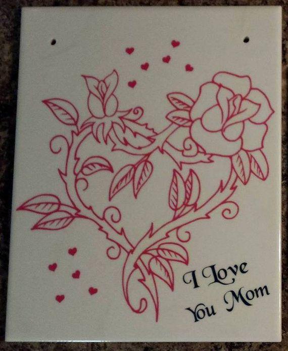 I Love You Mom plaque ceramic tile and vinyl by SuperBVinyl