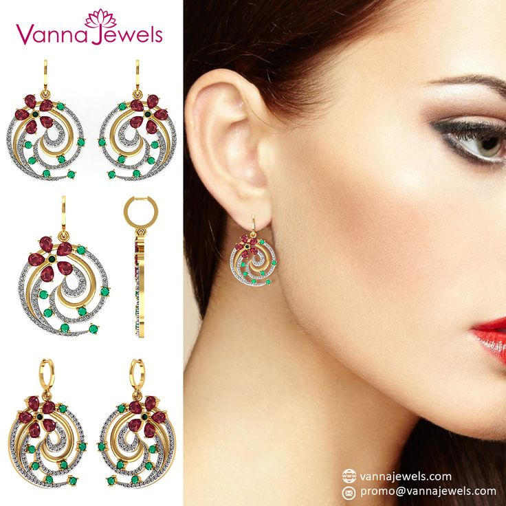 Vannajewels Collection Natural Emerald Ruby Gemstone Floral Hook Dangle Earrings Certified Diamond Pave Designer Fine Jewelry Set in Solid 18k Yellow Gold