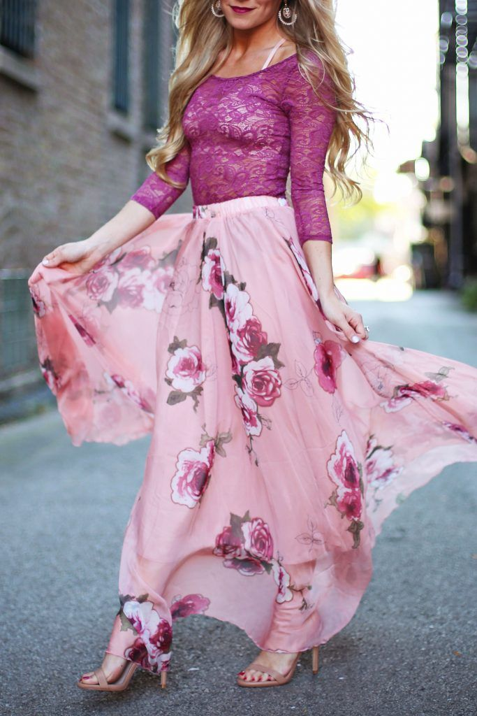 There are expensive bottles of rosé that don't even get us this excited over something so sleek and girlishly pink! Pink Rose Panache Maxi Skirt featured by oliviarink blog
