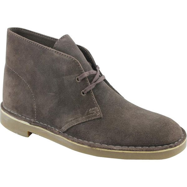 Clarks Men's 'Bushacre 2' Regular Suede Boots ($85) ❤ liked on Polyvore featuring men's fashion, men's shoes, men's boots, brown, mens brown chukka boots, mens brown leather lace up boots, mens suede boots, mens suede shoes and mens brown motorcycle boots