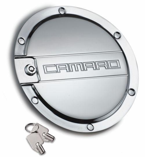 Camaro Locking Fuel Door - Black, Chrome or Brushed Aluminum