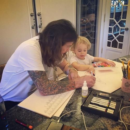 Who Knew That Ozzy Osbourne Is the Cutest Grandpa Ever? Quality time with his granddaughter and Faber-Castell Beeswax Crayons. #greatartstartshere