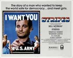 Stripes (1983) Bill Murray (Saturday Night Live); Harold Ramis , John Candy , Dave Thomas & Joe Flaherty (SCTV);  PJ Soles (Rock N Roll High School, Halloween);  Warren Oates (Two Lane Blacktop, Race With The Devil);  Sean Young (Bladerunner); John Laroquette (Tv's Night Court);  Judge Reinhold (Fast Times At Ridgemont High); John Voldstad (Darryl #2 on tv's Newhart); Dennis Quaid  (The Big Easy,Crazy Mama)..Originally written for Cheech And Chong who  were busy with a film
