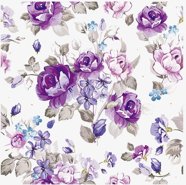 Purple Watercolor Flowers Vector Material Hand Painted Creative