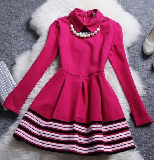Retro Necklace Long Sleeve Stripe Dress