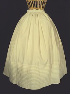 """White Civil War 1860's Skirt– Excellent Condition 