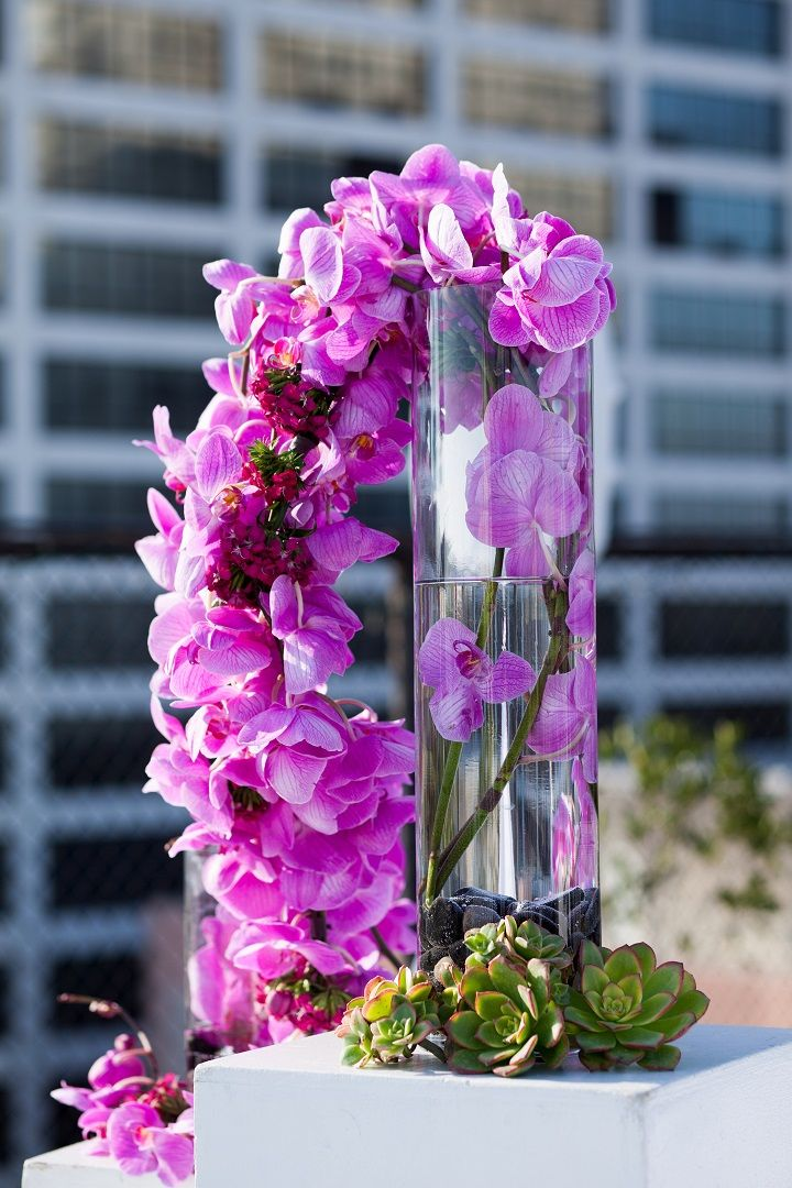 Rooftop altar decor of cascading fuscia orchids and succulents ♥ client wedding at Los Angeles Athletic Club « photo by Mi Belle Photographers « flowers by Lifetime Weddings Events « event design + planning by Modern Los Angeles Weddings