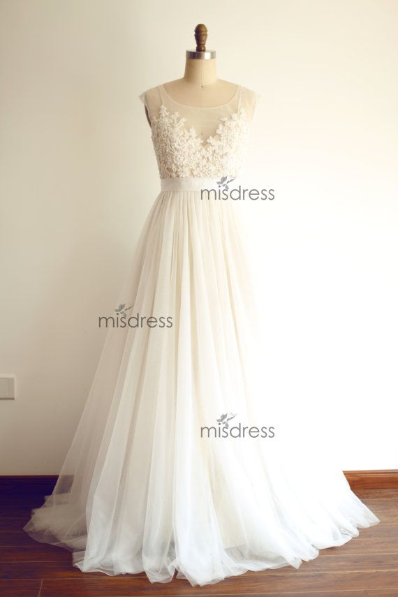 Custom Make Sheer Illusion Tulle Lace Beading Wedding by misdress $229 https://www.etsy.com/listing/193176961/cap-sleeves-champagne-tulle-wedding?ref=shop_home_active_11