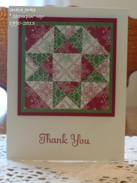 handmade thank you card ... Christmas Quilt patchwork block in red, white and green ... star pattern ...