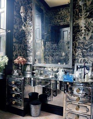 ,: Mirror Furniture, Dresses Tables, Modern Bathroom, Dark Bathroom, Bathroom Sinks, Bathroom Ideas, Bathroom Interiors Design, Dresses Rooms, Powder Rooms