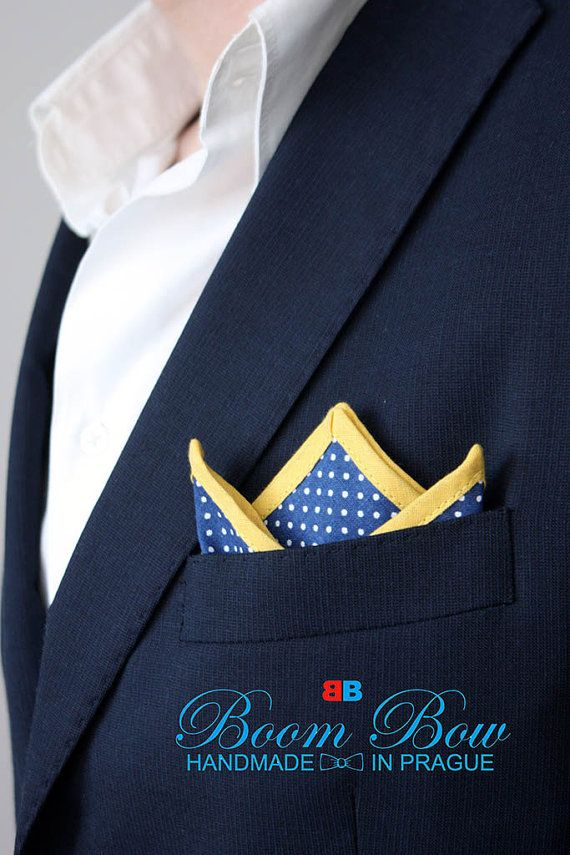 "Pocket Square 16"" Cotton blue polka dot and yellow edge handkerchief 16""x16"" Free Shipping"