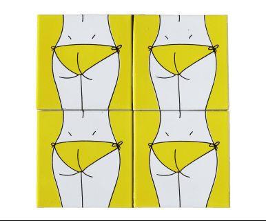 Set di 4 piastrelle adesive in ceramica bianco giallo e nero Bikini