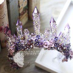 Европейский и американский Ретро фиолетовый кристалл серьги костюм керамика цветок корона студия свадебных фотографий в стиле барокко Headwear - Taobao