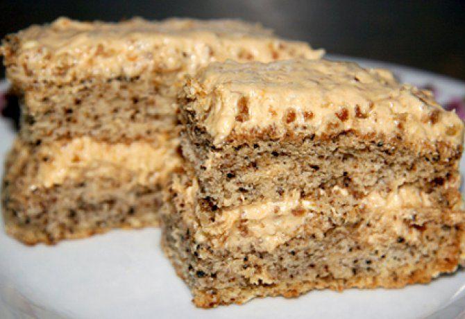 Diós-grillázskrémes torta