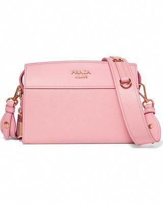 58de6a40e40c10 On Sale! Prada - Esplanade Smooth And Textured-leather Shoulder Bag - Pink  #Pradahandbags