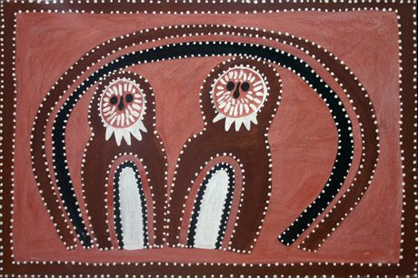 Queenie Nakarra McKenzie  'Two Mook Mook Owls'  1995  ochre on canvas  61 x 91 cm  $18,000 AUD  The Mook Mook Owls, mother and baby are found in a cave at the Blue Tongue Lizard Dreaming site near the turnoff to the Argyle Diamond Mine. The cave site is called Tunnel Creek. Owls are said to be associated with birth and death amongst the Gija people.