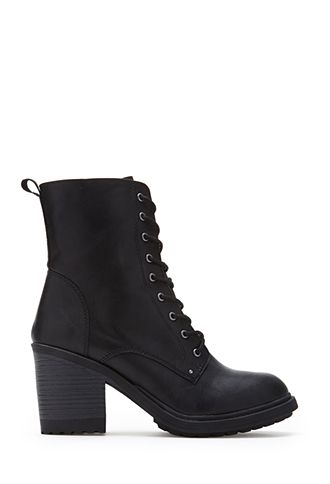Lace-Up Combat Boots (Wide) | FOREVER21 - 2000120849 - So all the boots that I want are on sale right now! I need them all.