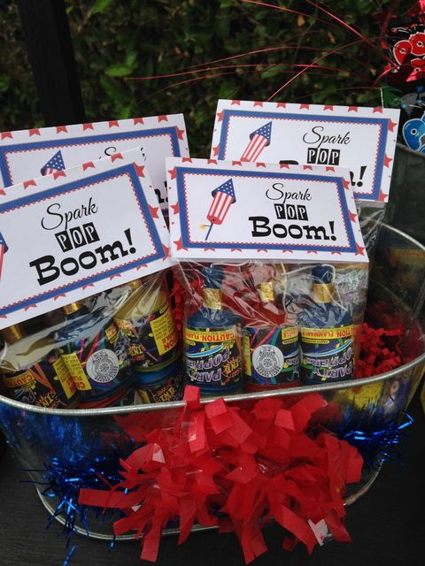 Fun fireworks favors at a 4th of July first birthday party!  See more party ideas at CatchMyParty.com!