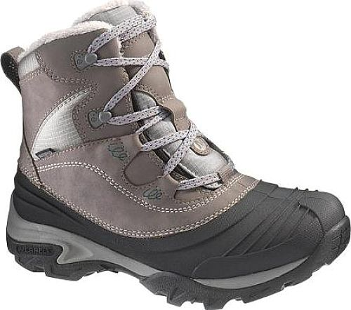 Merrell Women's Shoes in Charcoal Color. Keep the feet warm helping the kids catch the bus or their first snowball this all-around snow boot takes cold weather in stride. A cozy insulated upper lined with quick dry fleece tops off a lightweight, flexible hiking platform with shock absorption for endless winter walking comfort.