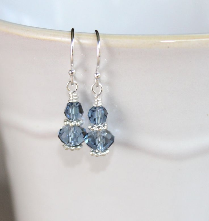 Swarovski Crystal Earrings - Denim Blue Crystal Earrings - Blue and Silver Earrings.
