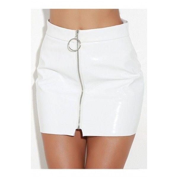 New Fashion Plain Zip Up High Waist PU Mini Skirt (€26) ❤ liked on Polyvore featuring skirts, mini skirts, zip up skirt, white high waisted skirt, white skirt, high-waisted skirt and short white skirt