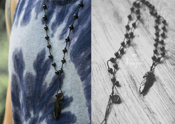 DRAGON GLASS ROSARY necklace Onyx Obsidian by IRONWOLFjewelry