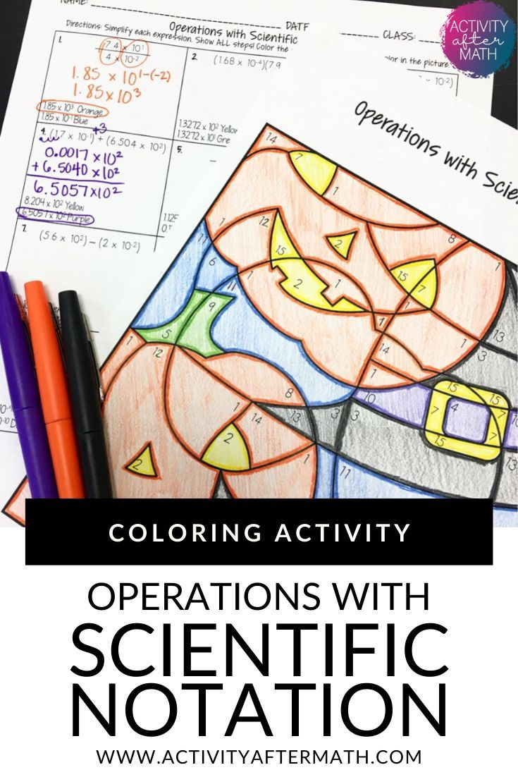 Halloween Math Operations With Scientific Notation Coloring Activity Math Operations Scientific Notation Coordinate Graphing Pictures