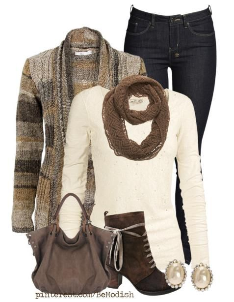 a little more sophisticated dark jeans, cream long sleeve, brown toned cardigan, scarf and accessories