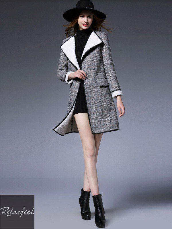 Relaxfeel Women's Gray Lapel Tartan Plaid Woolen Coat - New In