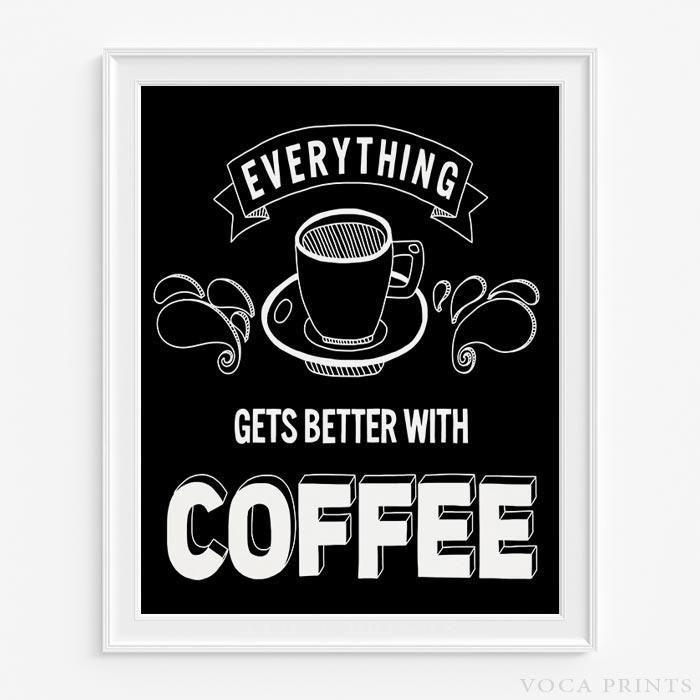 Coffee Typography Wall Decor Print. Starting Price $9.90 at VocaPrints.com - #coffee #typography#wallart #homedecor#decor