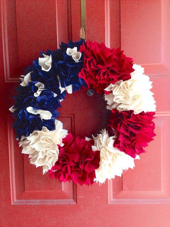 American Flag Fabric Wreath