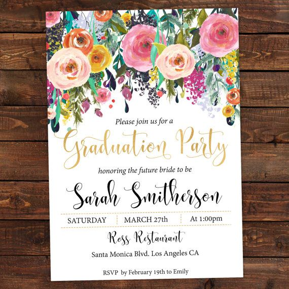 Graduation Invitation  Floral Boho Chic by DIYPartyInvitation #graduation #graduationparty #graduationinvitation