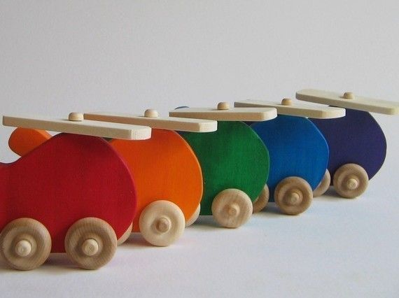 Little Ones: Wooden toys - stacking rainbow, waves, sun, helicopter... SO cute!