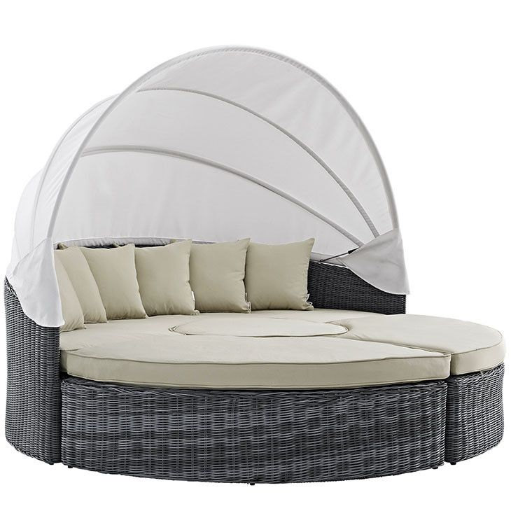 Modway Furniture Modern Summon Canopy Outdoor Patio Daybed In Sunbrella  EEI 1997