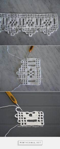 Filet crochet lace edging with flowers and points. The large beading allows for insertion of a wide ribbon and the ribbons colour will show behind the flower. Nice!!