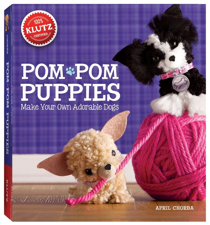 KLUTZ-Pom-Pom Puppies Book Kit. Make your own adorable dogs. This package contains a 56-page book of ideas and instructions; yarn in four colors; pom-pom maker; four sheets of felt; four mini pom-poms