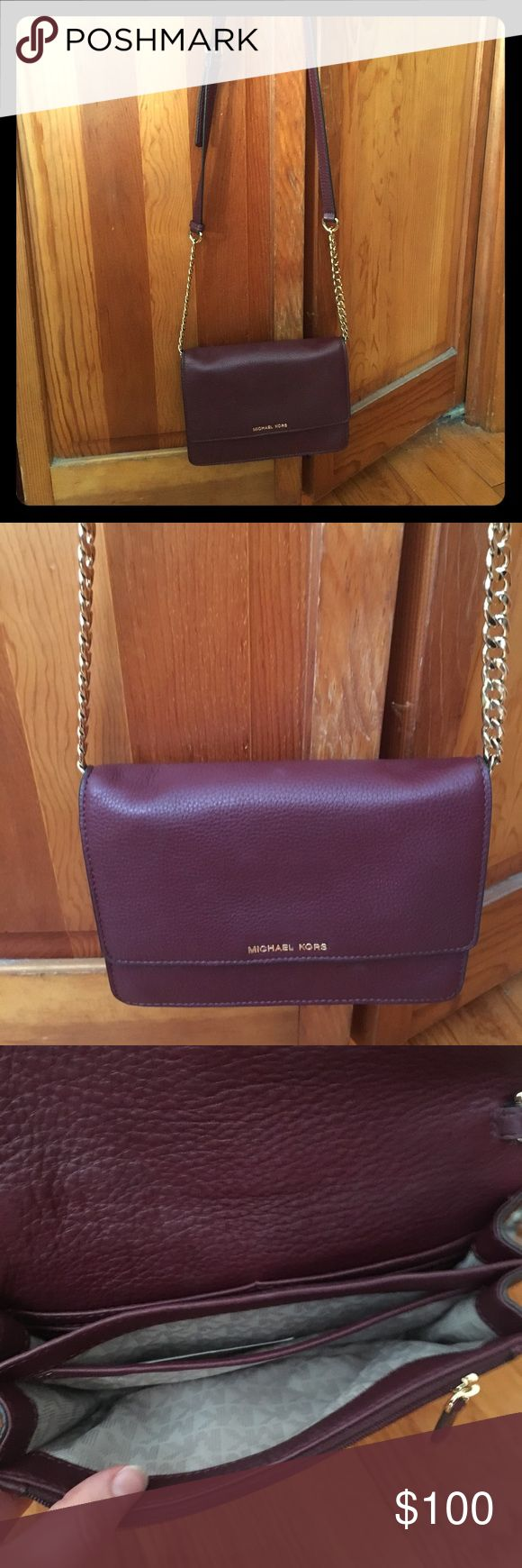 Micheal Kors crossbody bag A beautiful soft leather crossbody bag, in merlot color, in like new condition! Michael Kors Bags Crossbody Bags