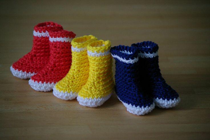 Bottes de pluie au crochet - poupée chéries de corolle