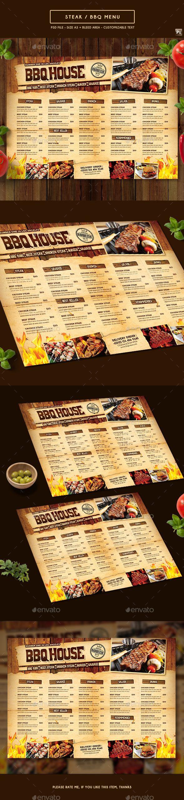 BBQ / Steak Menu - Food Menus Print Templates Download here : https://graphicriver.net/item/bbq-steak-menu/19254774?s_rank=86&ref=Al-fatih