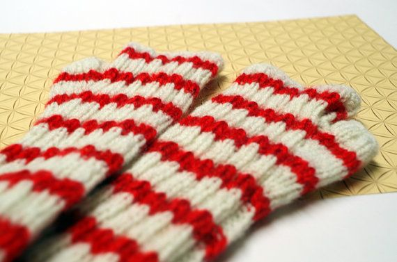 Arm warmers (fingerless gloves, hand warmers), red and white (for women)