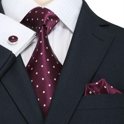 Burgundy and White Polka Dot Necktie Set JPM1866W – Toramon Necktie Company