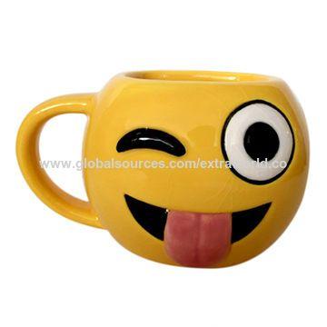 Ceramic mugs custom tongue emoji yellow mug for wholesale