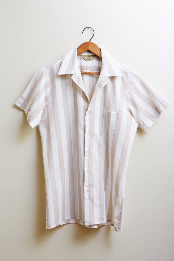 258.93 kr. 1930s Baiter Bros Beige & White Stripe Cotton by SoftServeVintage