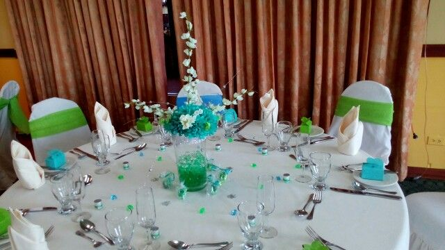 Blue, green and off white centrepiece