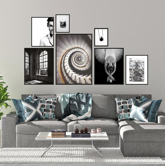 Black And White Gallery Wall Art Set Set Of 7 Printable Art Prints
