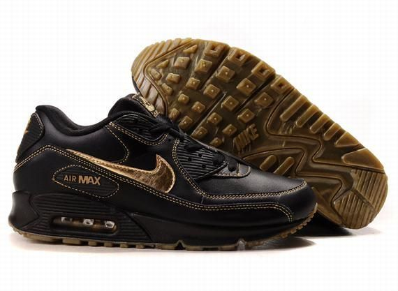 dfd097bc0463d ... Cheap Cheapest Nike Air Max 90 Mens Premium Trainers Gold And Black  Sneaker Outlet UK Store ...