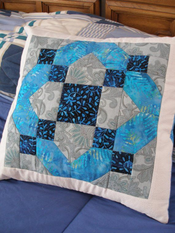 Quilted Blue Gray White Pillow Cover 16 Inch Quiltsy Handmade & 17 Best images about pillows on Pinterest | Patchwork Quilt and ... pillowsntoast.com
