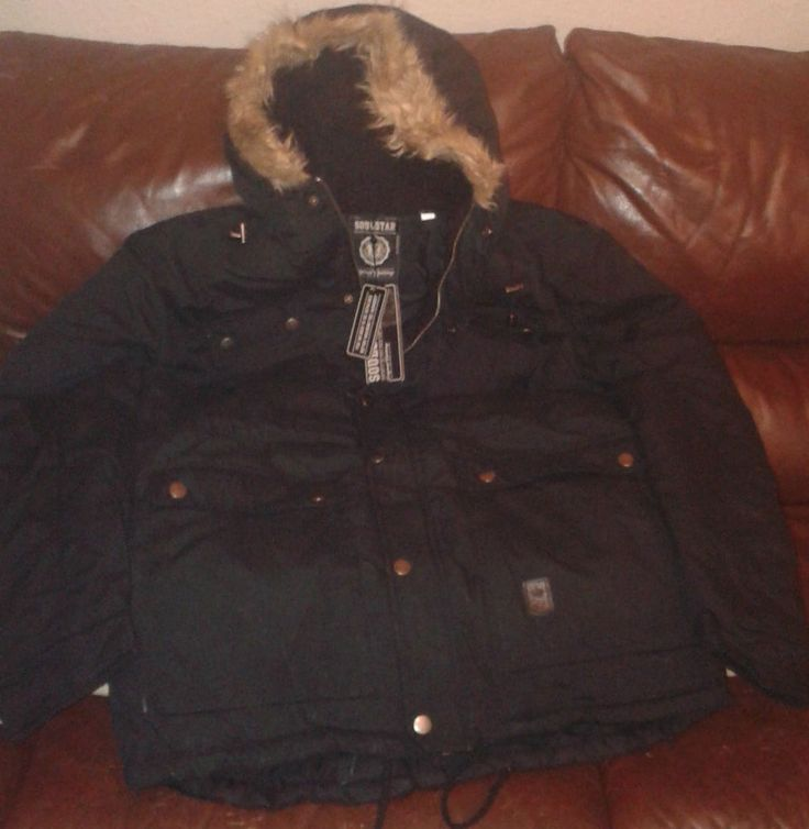 Mens Soul Star Padded Quilted Fishtail Coat Parka Jacket for Cancer ResearchUK
